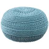 Aqua Roped Cotton Pouf Ottoman