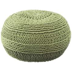 Lime Roped Cotton Pouf Ottoman