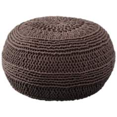 Mocha Roped Cotton Pouf Ottoman
