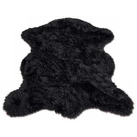 Black Bear 011 Faux Fur Area Rug