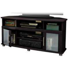 City Life 2-Door Chocolate Corner TV Stand