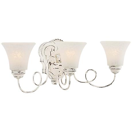 "Accents Provence 23 1/4"" Wide Distressed White Bath Light"