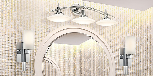 Save up to 77% on contemporary and traditional bathroom lights.