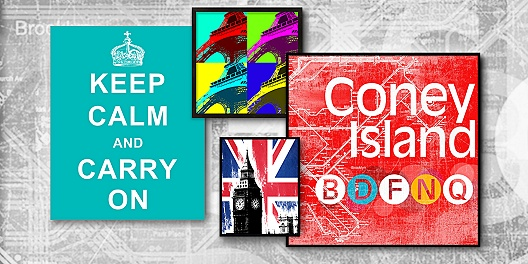 Travel-themed wall art up to 74% off from 55 Downing Street.