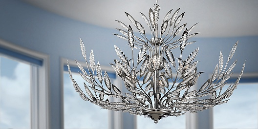 Whimsical Chrome and Crystal Chandelier