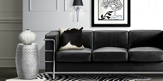 Contemporary Black and White Living Room