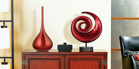 Asian Inspired Side Table and Contemporary Sculpture