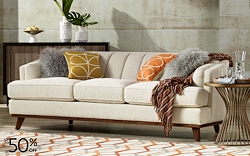 Upscale contemporary and traditional sofas and decorative pillows up to 50% off in our luxury furnishings sale.