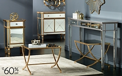 Save up to 60% on luxurious mirrored furniture in our upscale home furnishings sale.