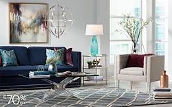 Save up to 70% on colorful and neutral home furniture, lighting and decor.