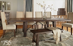 Save up to 75% on upscale dining room furniture, lighting and accessories in our luxury furnishings sale.