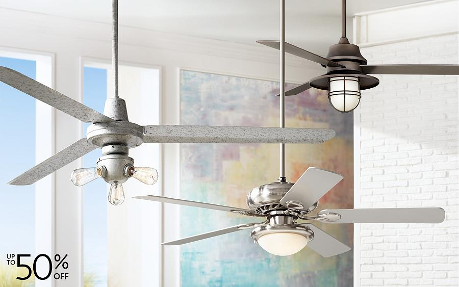 Save up to 50% on a selection of contemporary and traditional ceiling fans and party lights.