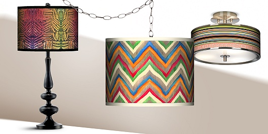 Colorful giclee lighting on sale at 55 Downing Street.