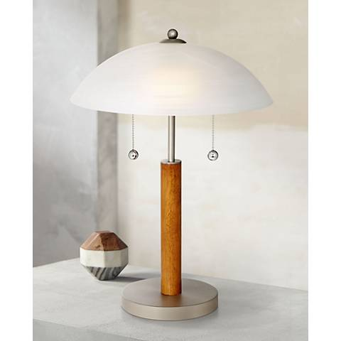 "Orbital 19 1/2"" High Brushed Steel and Wood Table Lamp"