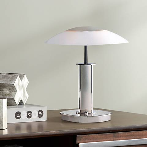 Holtkoetter Nickel Finish Mini Desk Lamp with White Glass