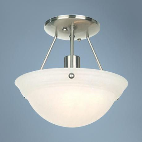 "Nickel and Frosted Glass 10"" Wide Ceiling Light Fixture"