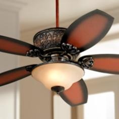 "52"" Casa Troubadour Dark Walnut Ceiling Fan with Light"