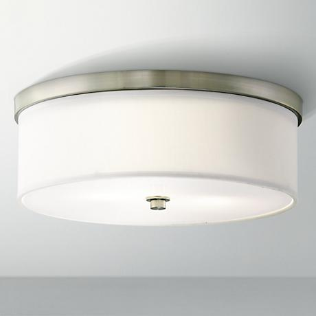 "Energy Efficient White Fabric 14"" Wide Ceiling Light"