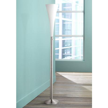 Mimosa White Glass Floor Lamp
