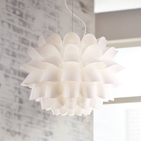 Possini Euro Design White Flower Pendant Chandelier