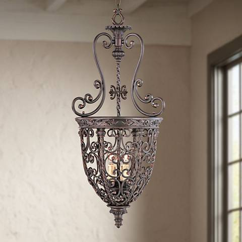 "French Scroll 32"" High Three Light Iron Foyer Chandelier"
