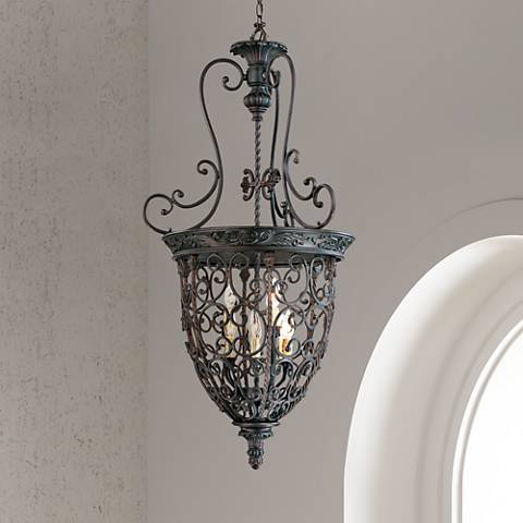 French Scroll 22 1 2 W 9 Light Bronze Iron Foyer Chandelier