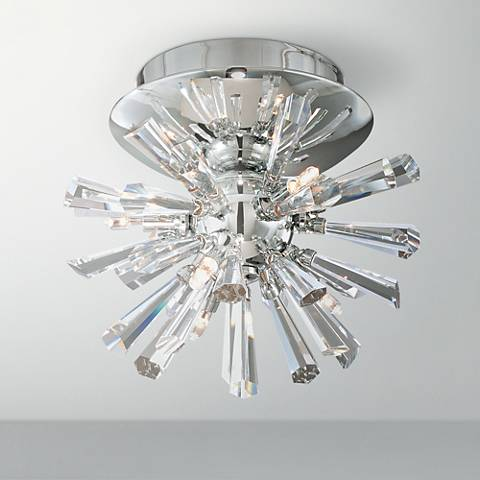 "Possini Euro Crystal Burst 8"" Wide Chrome Ceiling Light"