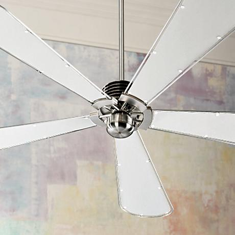 "72"" Quorum Dragonfly Collection Nickel Finish Ceiling Fan"