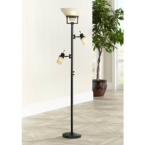Bronze Finish 4-Light Tree Torchiere Floor Lamp