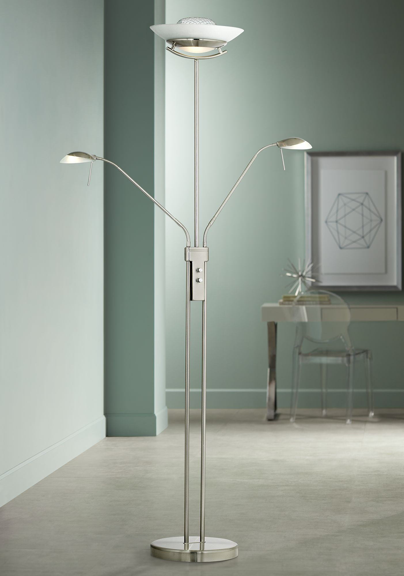 halogen three light torchiere and reading floor lamp - Torchiere