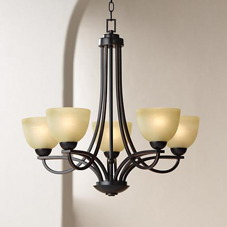 Franklin Iron Works Bennington Collection 5 Light Chandelier