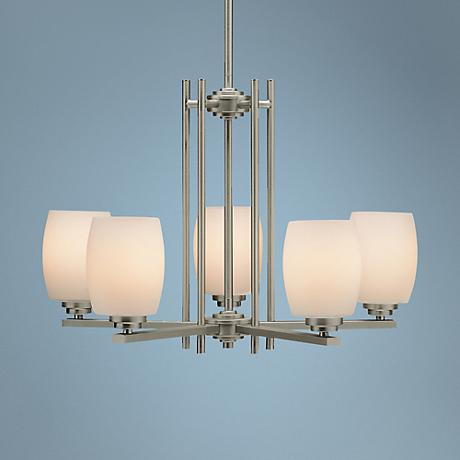 Sleek Brushed Nickel Five Light Chandelier