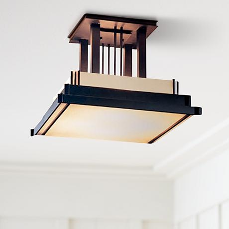 "Hubbardton Forge Black Finish 17 1/2"" Wide Ceiling Light"