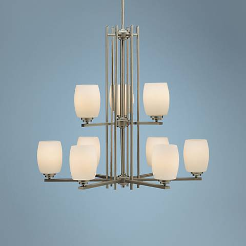 Brushed Nickel Nine Light Chandelier