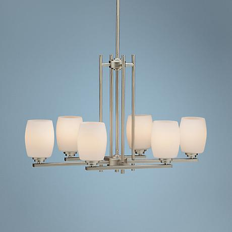 Convertible Brushed Nickel Six Light Chandelier
