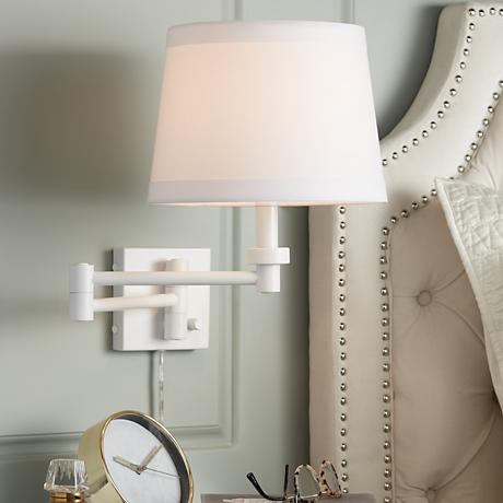 vero white plug in swing arm wall lamp 07097 lamps plus. Black Bedroom Furniture Sets. Home Design Ideas