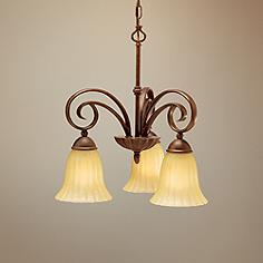 Scroll Umber Three Light Small Chandelier