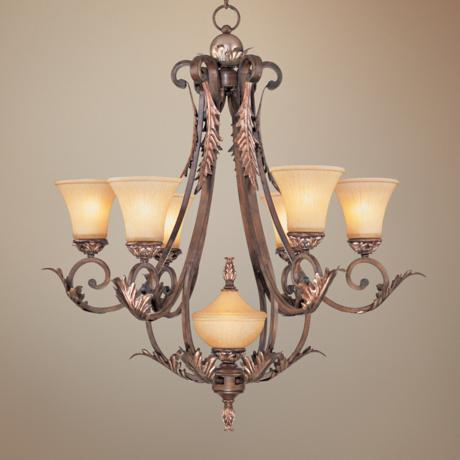 Bronze Gold Finish Acanthus Leaf Seven Light Chandelier