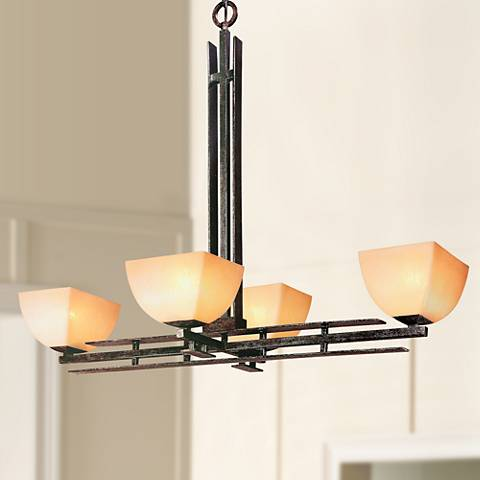 Lineage Collection Mission 19 Quot Wide Four Light Chandelier