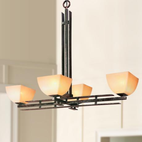 "Lineage Collection Mission 19"" Wide Four Light Chandelier"