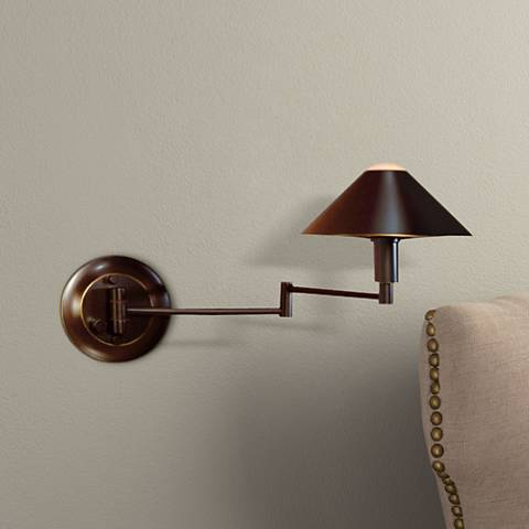 Holtkoetter Bronze Finish Metal Shade Swing Arm Wall Lamp