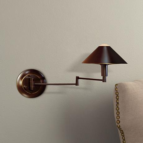 Holtkoetter Bronze Finish Metal Shade Swing Arm Wall Lamp - #09102 Lamps Plus