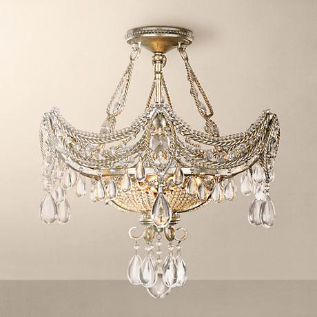 "Silver and Gold Foil 18"" Wide Ceiling Light Fixture"