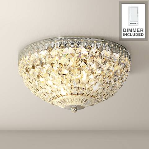 "Schonbek 10"" Wide Silver Crystal Flushmount with Dimmer"