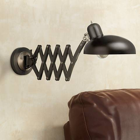 Bruno Collection Scissor Arm Pharmacy Plug-In Wall Light