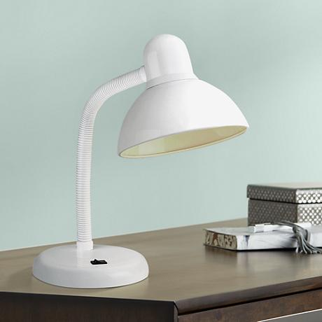 Gooseneck White Finish Task Desk Lamp