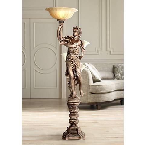 Bronze Maiden Statue Torchiere Floor Lamp