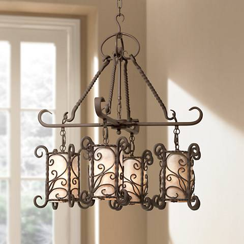 Natural Mica Collection Four Light Chandelier