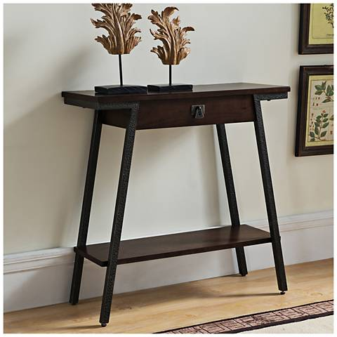 Leick Empiria Hand-Finished Walnut 1-Drawer Hall Console