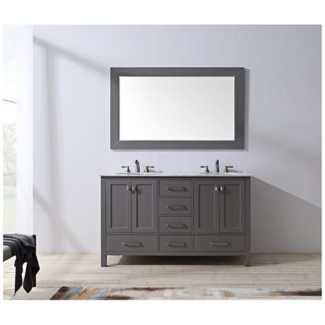 "Malibu 60"" Gray Double Sink Bathroom Vanity"